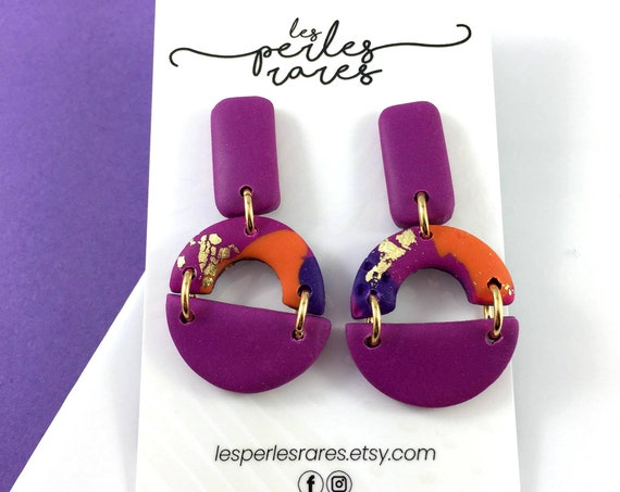 polymer purple, orange, pink, gold foil, hoop, ring, three polymer pieces, stainless stud, polymer clay earring, les perles rares