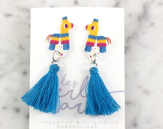 Pinata, earring, tassel, yellow, blue, magenta, mexican, hypoallergenic, plastic, stainless stud, handmade, les perles rares