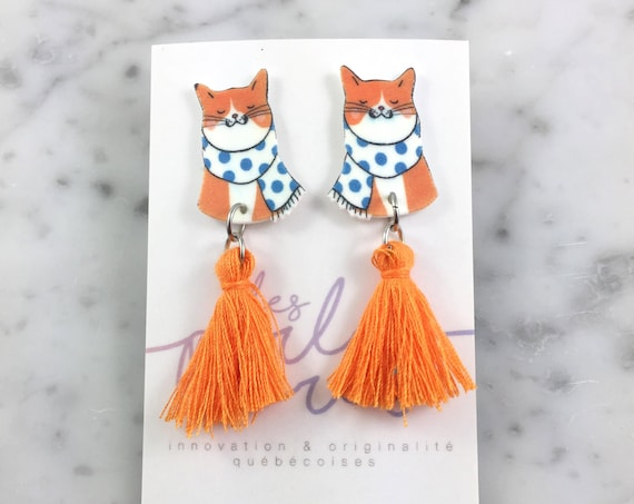 FAULT - Cat, retro, winter, orange, blue, earring, tassel, hypoallergenic, plastic, stainless stud, handmade, les perles rares