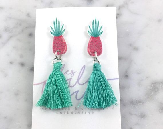 Pineapple, earring, pink, turquoise, tassel, hypoallergenic, plastic, stainless stud, handmade, les perles rares
