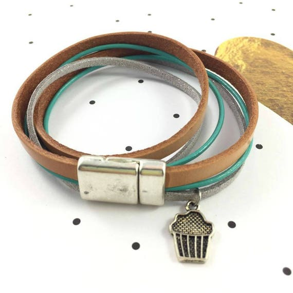 Leather, magnetic, magnet, bracelet, brown, turquoise, cupcake charm, choker necklace, magnet, les perles rares