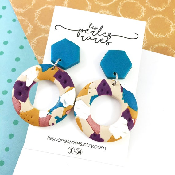 polymer purple, mustard, pink, blue, hoop, ring, two polymer pieces, stainless stud, polymer clay earring, les perles rares