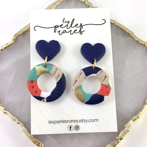 polymer earring, marine heart, polymer hoop, stainless stud, orange, turquoise, white, gold, polymer clay earring, les perles rares
