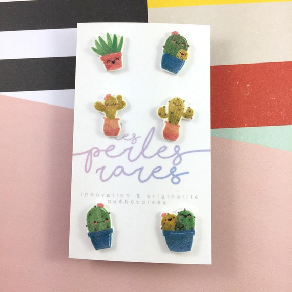 cactus, mix and match cactus, earring, flower cactus cute cactus,  earring stainless stud, handmade, les perles rares