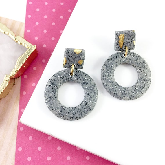 polymer concrete gray classic, gold foil, dangle earring, two pieces, stainless stud, polymer clay, les perles rares