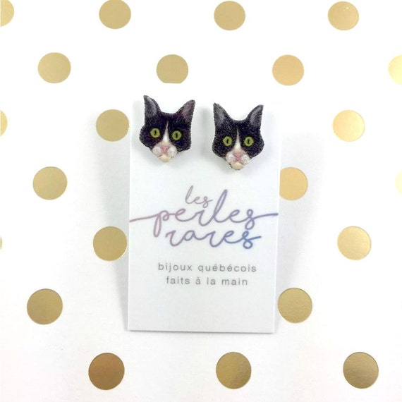 Cat, black and white head cat, earring, catlover, gray hair cat,  plastic, stainless stud, handmade, les perles rares