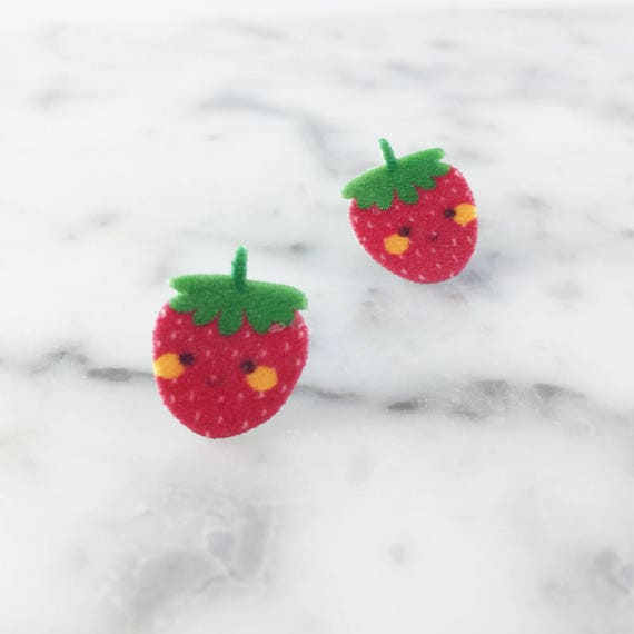 Small, earrings, shrink plastic, strawberry, red, face, stainless stud, handmade, les perles rares