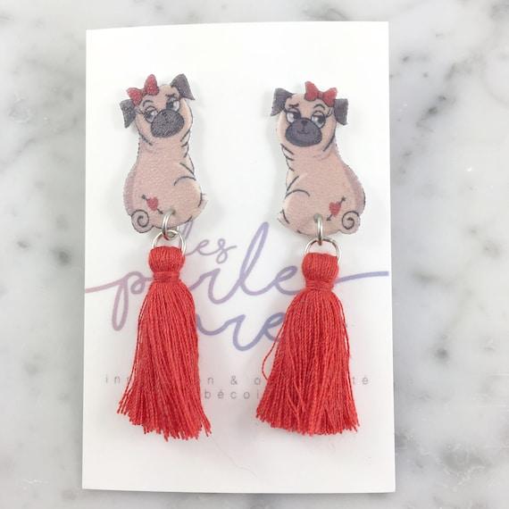 Pug, red tassel, stud earring, tassel, hypoallergenic, plastic, stainless stud, handmade, les perles rares