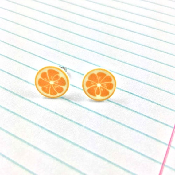 orange, lemon, citrus, earring, summer, print on plastic, stainless stud, handmade, les perles rares