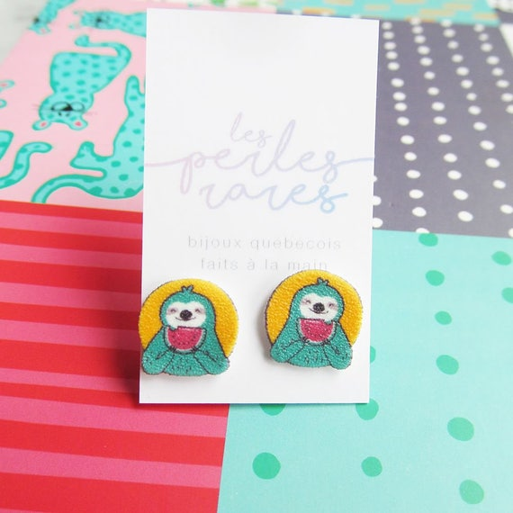 sloth, earring, truquoise, green, mint, yellow, watermelon, earring, print on plastic, stainless stud, handmade, les perles rares