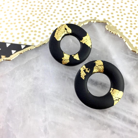 polymer earring,hoop stud, polymer,stainless stud, black and gold foil, handmade striped, classic, polymer clay earring, les perles rares