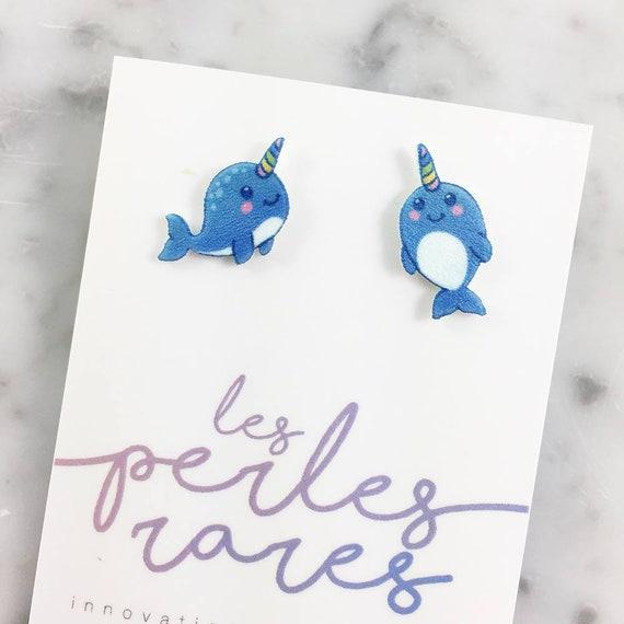narwhal, unicorn whale, whale, narwhale earring, blue, print on plastic, shrink plastic earring, stainless stud, handmade, les perles rares