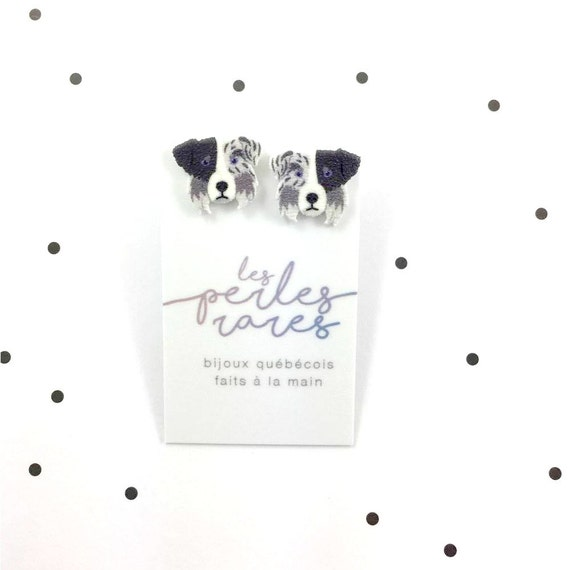 Aussie, grey, black, white, border collie, dog earring,dog,  hypoallergenic, plastic, stainless stud, handmade, les perles rares