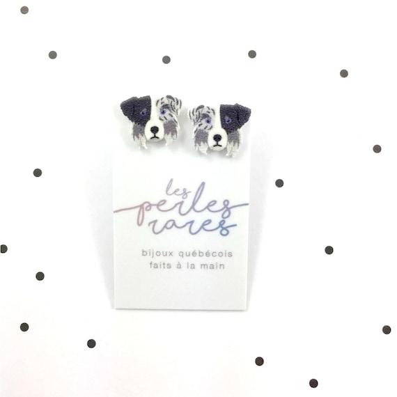 Aussie, grey, black, white, border collie, dog earring,dog,  hypoallergenic, plastic, stainless stud, handmade, les perles rares