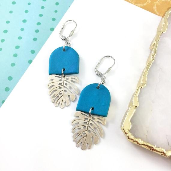 polymer blue, shiny tropic leaf, pink, clay, blue earring, stainless earring, polymer clay earring, les perles rares