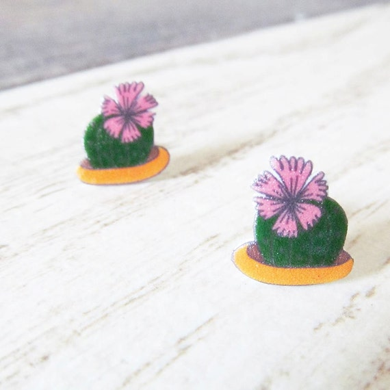 Small, earrings, shrink plastic, cactus, green, pink, flower, stainless stud, handmade, les perles rares