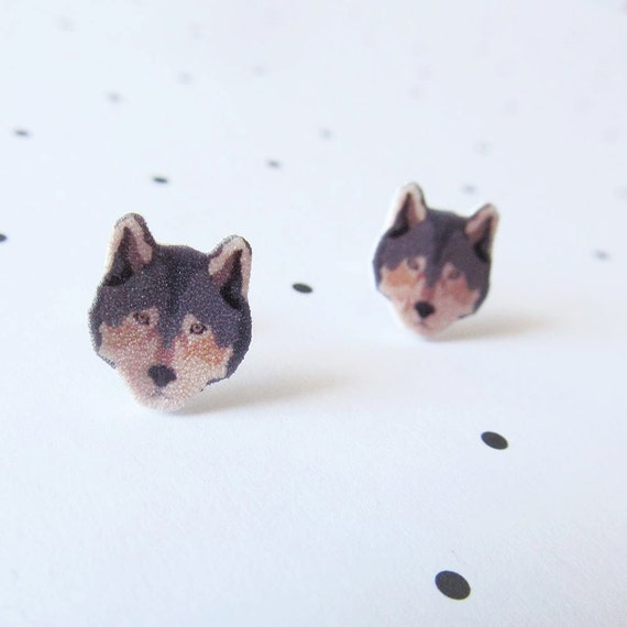 wolf, wolves, animal, head, wolf head earring,  stud, shrink plastic,  stainless stud, nickel free, handmade, les perles rares