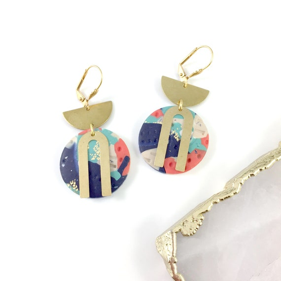 circle polymer clay earring, half circle gold,  orange, marine, white earring, earwire leverback, stainless earring,  les perles rares