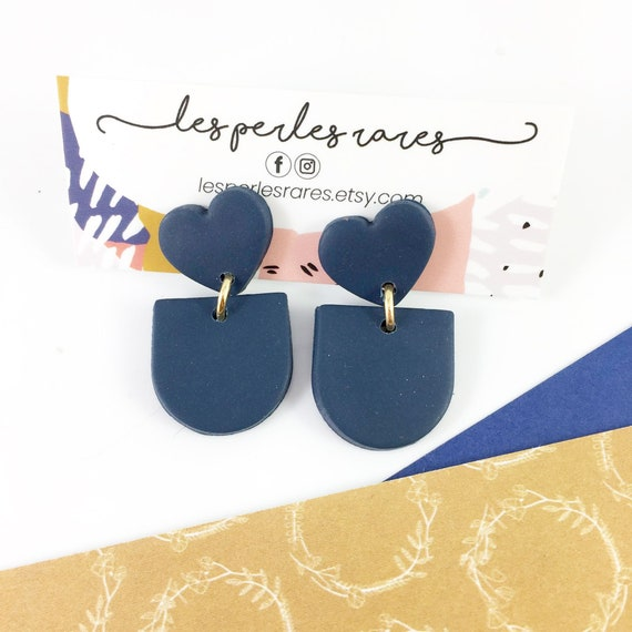 stud polymer clay earring, heart, marine, sea, navy, blue, dark blue, stainless, very light jewelry, polymer earring, les perles rares