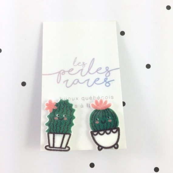cactus character, cute cactus, two different cactus, earrings, shrink plastic, green, stainless stud, handmade, les perles rares