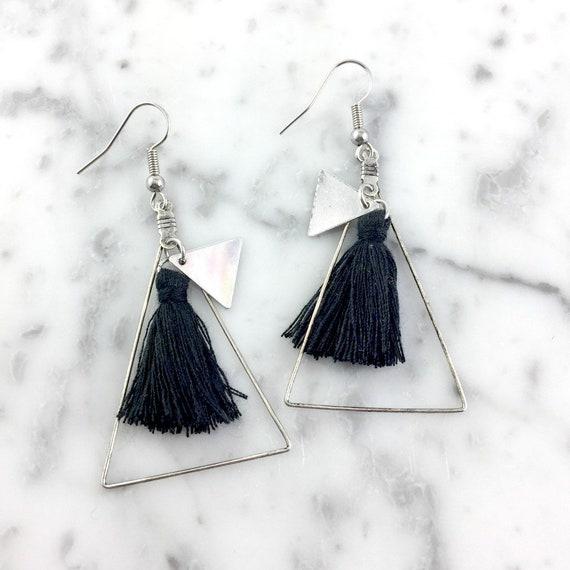 silvert triangle, pendent earring, tassel black color, bohemian earring, long earring, stainless hook, allergic free