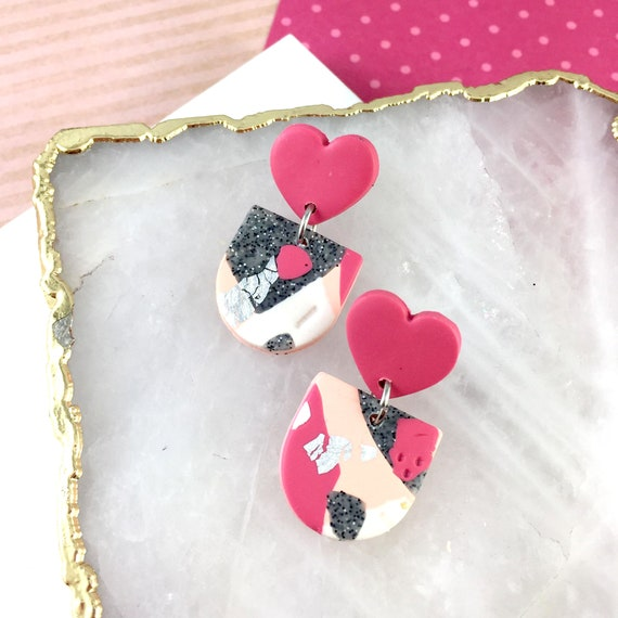 stud polymer clay earring, heart, peach color, fushia pink, concrete gray, stainless, very light jewelry, polymer earring, les perles rares