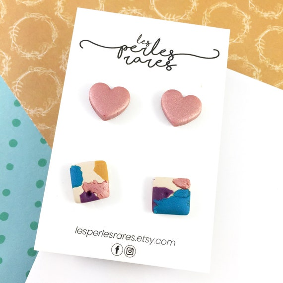 2 pairs of polymer Studs, pink, purple, beige, blue color, square, stud, polymer, unique, stainless stud,  rounds, polymer clay earring