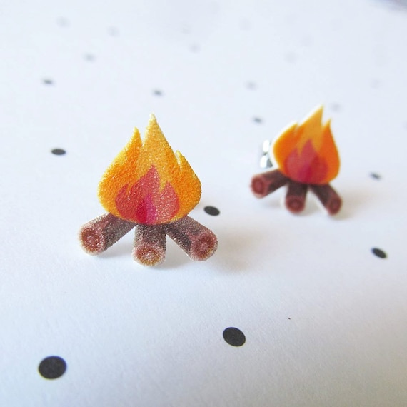 campfire, confort, summer night, lovely earring, stud, shrink plastic,  stainless stud, nickel free, handmade, les perles rares