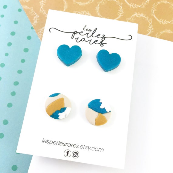 2 pairs of polymer Studs, blue, shiny, beige, mustard color, white, round, stud, polymer, unique, stainless stud, polymer clay earring