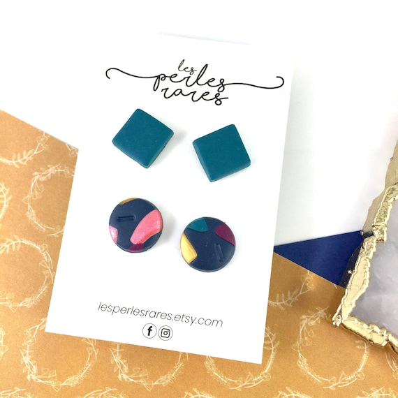 2 pair polymer Studs, square, rounds, emerald, coral, emerald, marine, golden, navy, gold, sea polymer, stainless stud, polymer clay earring