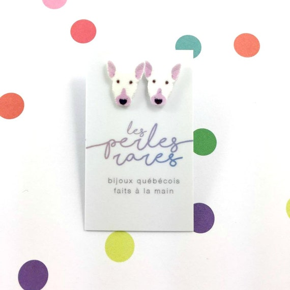 bull terrier, bulldog, white, dog earring, dog, hypoallergenic, plastic, stainless stud, handmade, les perles rares