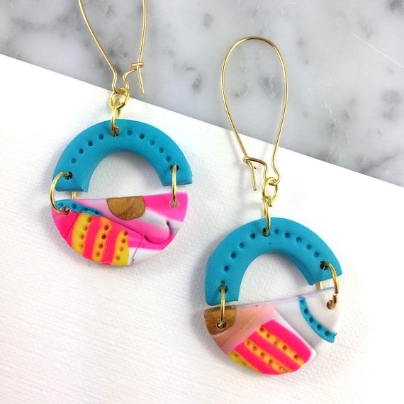 dangle earring, gold brass hook, polymer clay earring, blue, neon, white, funfetti, half circle dangle earring, white, les perles rares