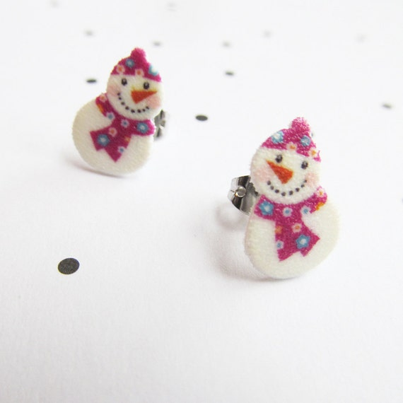 snowman, white, pink, snow, stud, earring, shrink plastic,  stainless stud, nickel free, light, handmade, les perles rares
