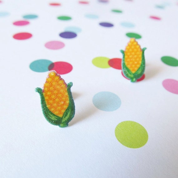 corn cobs, corn, yellow corn, autumn, earring, stud, shrink plastic,  stainless stud, nickel free, handmade, les perles rares