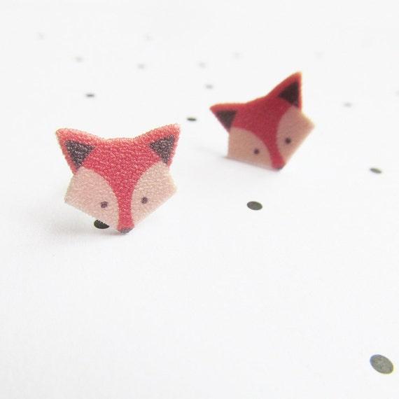 Fox, orange, stud, earring, shrink plastic,  stainless stud, nickel free, light, handmade, les perles rares