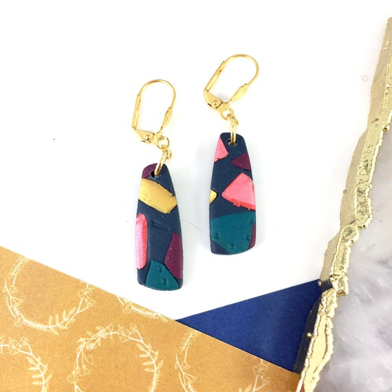 polymer geometric, marine colors, golden colors, coral pearly, dangle, long, long earring,  polymer clay earring, les perles rares