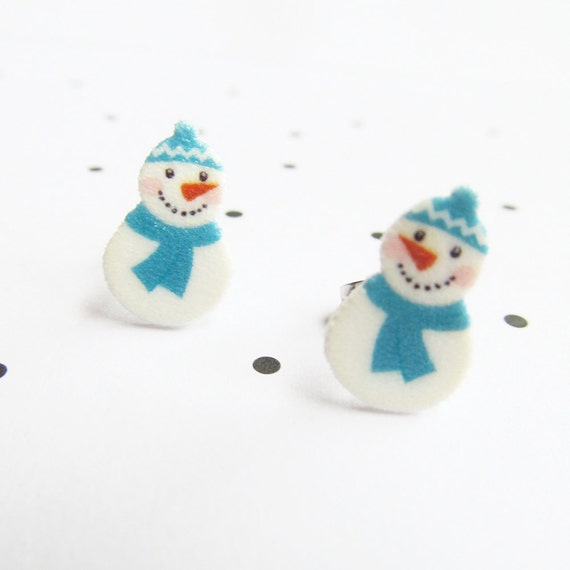 snowman, white, blue, snow, stud, earring, shrink plastic,  stainless stud, nickel free, light, handmade, les perles rares