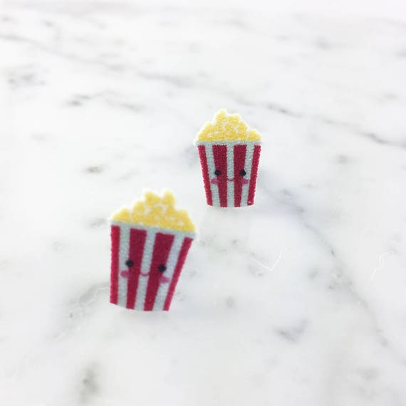 Pop corn, cinema, cute face, red, white, yellow, moovie, print on plastic, stainless stud, handmade, les perles rares