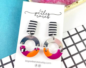 Polymer, black and white, stripped, multicolored, ring, colors, two pieces, metal arc, stainless stud, polymer clay, les perles rares