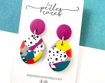 Polymer, earrings, studs, oval, pink, dots, white, orange, blue, colors mix, dangle earring, two pieces, stainless stud, les perles rares