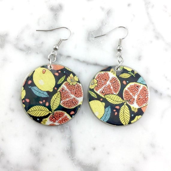 Resin earrings, fruits, grenada, lemon, autumn pattern, yellow, blue, red, handmade, sold, background, hypoallergenic hook