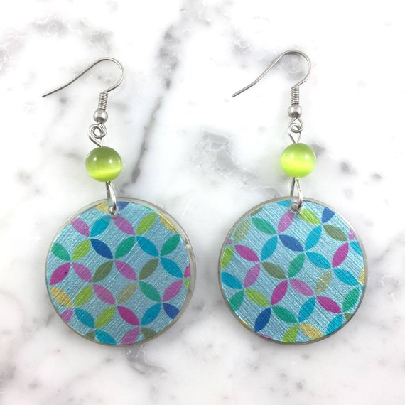 Resin earrings, abstract geometric blue , handmade, hypoallergenic hook, stainless steal, les perles rares