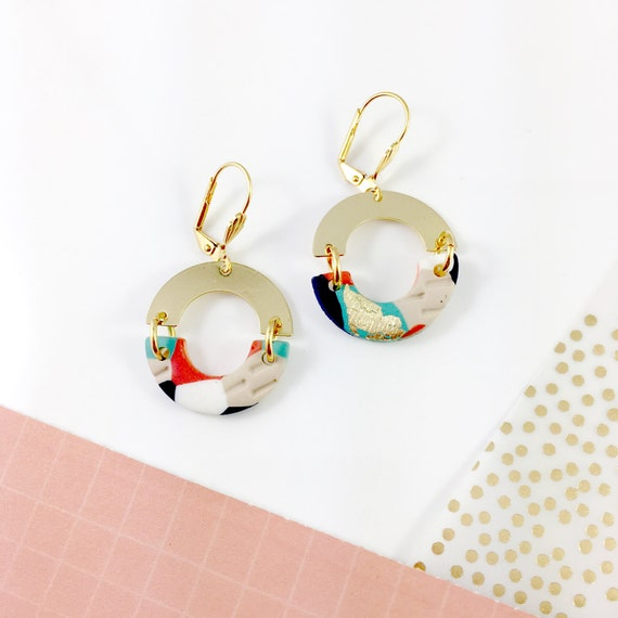 Half circle polymer clay earring, gold,  orange, marine, white earring, earwire leverback, stainless earring,  les perles rares