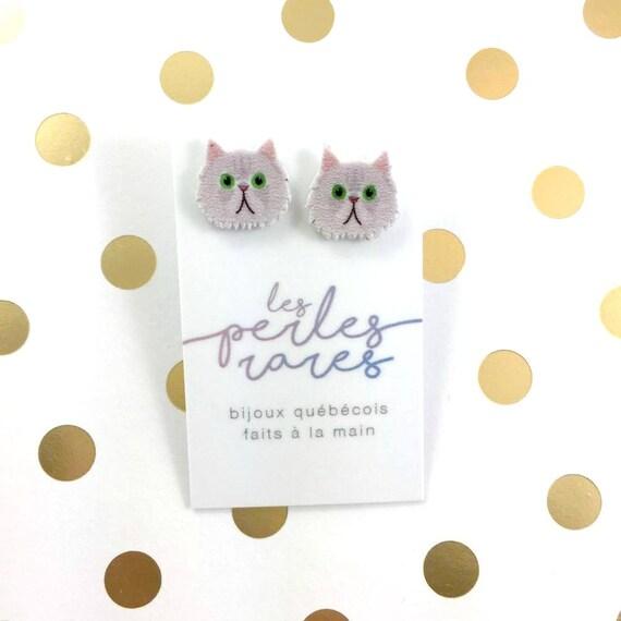 Persian gray cat, gray, earring, catlover, gray hair cat,  plastic, stainless stud, handmade, les perles rares