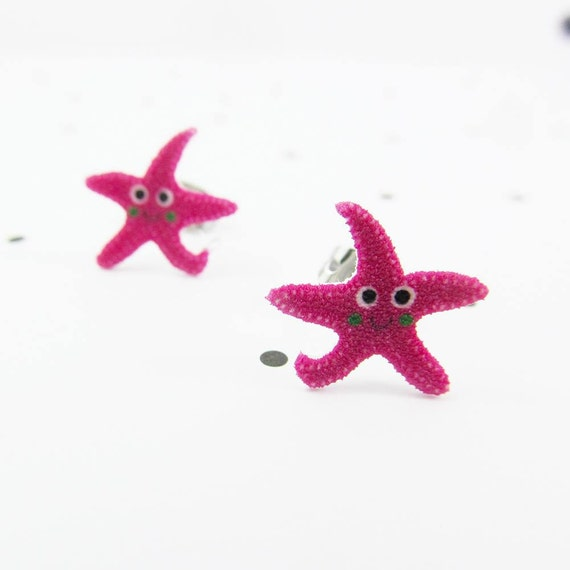 pink starfish, starfish earring, comic starfish, pink, sea world, earring, print on plastic, stainless stud, handmade, les perles rares