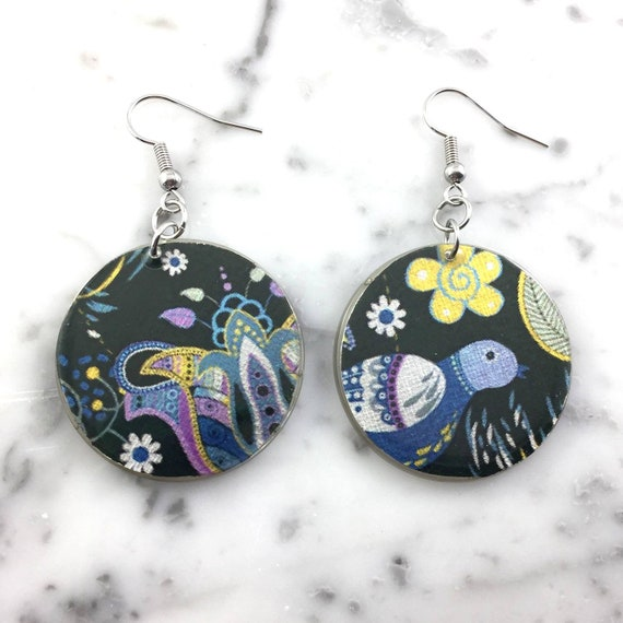 Resin earrings, abstract geometric blue bird, , blue and purple, violet, handmade, hypoallergenic hook, stainless steal, les perles rares