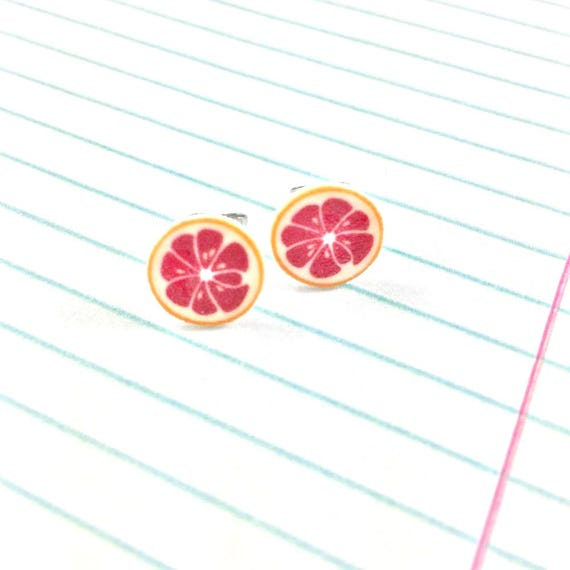 pink grapefruit, citrus, earring, summer, print on plastic, stainless stud, handmade, les perles rares