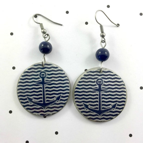 Resin earrings, anchor, marine, blue and white, handmade, sold, background, hypoallergenic hook, stainless steal, les perles rares