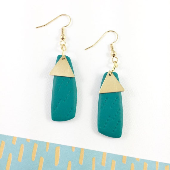 polymer geometric, triangle, long earring, stainless, blue green, turquoise, polymer clay earring, metal triangle,  les perles rares
