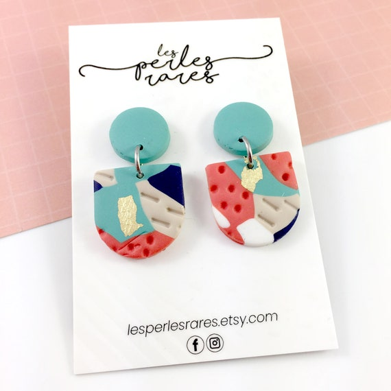 polymer geometric, orange, turquoise, marine, stud, stainless stud, polymer clay earring, les perles rares